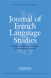 Journal of French Language Studies Volume 18 - Issue 2 -