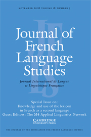 Journal of French Language Studies Volume 18 - Issue 3 -  Knowledge and use of the lexicon in French as a second language