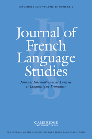 Journal of French Language Studies Volume 20 - Issue 3 -