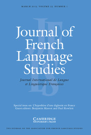 Journal of French Language Studies Volume 23 - Issue 1 -  L'hypothèse d'une diglossie en France