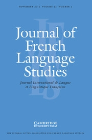 Journal of French Language Studies Volume 23 - Issue 3 -