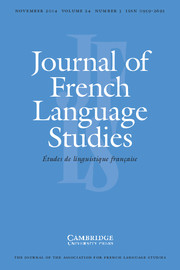 Journal of French Language Studies Volume 24 - Issue 3 -