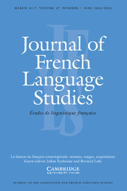Journal of French Language Studies Volume 27 - Issue 1 -  La liaison en français contemporain: normes, usages, acquisitions