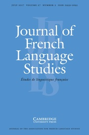 Journal of French Language Studies Volume 27 - Issue 2 -