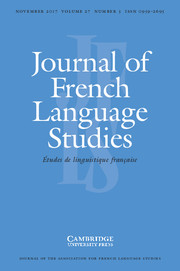 Journal of French Language Studies Volume 27 - Issue 3 -