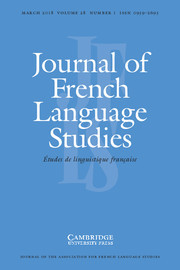 Journal of French Language Studies Volume 28 - Issue 1 -