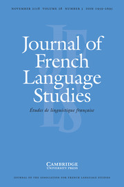 Journal of French Language Studies Volume 28 - Issue 3 -