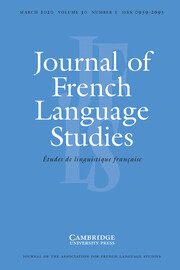 Journal of French Language Studies Volume 30 - Issue 1 -
