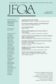Journal of Financial and Quantitative Analysis Volume 47 - Issue 6 -