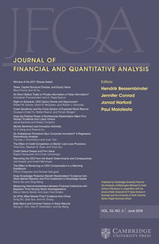 Journal of Financial and Quantitative Analysis Volume 53 - Issue 3 -