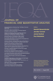 Journal of Financial and Quantitative Analysis Volume 53 - Issue 4 -