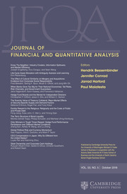 Journal of Financial and Quantitative Analysis Volume 53 - Issue 5 -