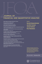 Journal of Financial and Quantitative Analysis Volume 53 - Issue 6 -