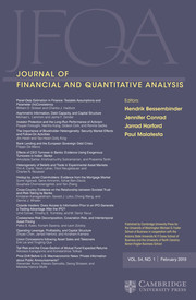 Journal of Financial and Quantitative Analysis Volume 54 - Issue 1 -