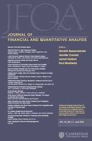 Journal of Financial and Quantitative Analysis Volume 54 - Issue 3 -