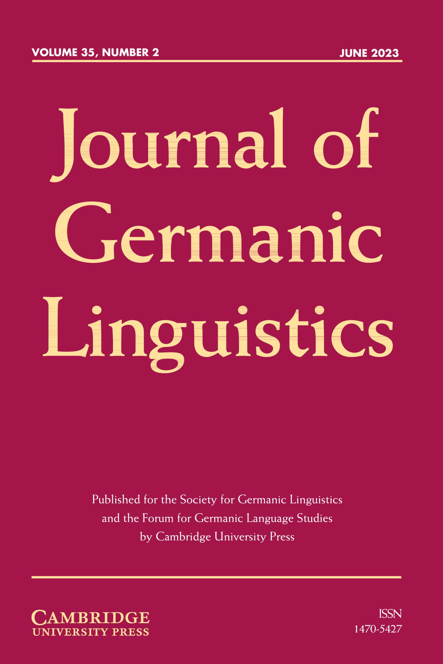 Journal of Germanic Linguistics   Cambridge Core