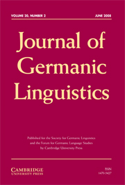Journal of Germanic Linguistics Volume 20 - Issue 2 -