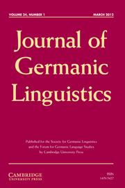Journal of Germanic Linguistics Volume 24 - Issue 1 -