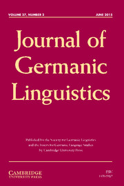 Journal of Germanic Linguistics Volume 27 - Issue 2 -