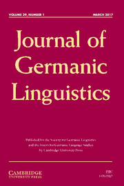 Journal of Germanic Linguistics Volume 29 - Issue 1 -