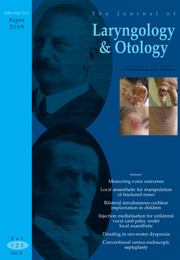 The Journal of Laryngology & Otology Volume 123 - Issue 8 -