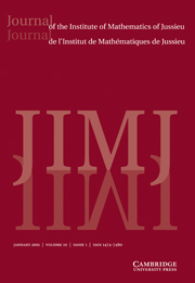 Journal of the Institute of Mathematics of Jussieu Volume 10 - Issue 1 -