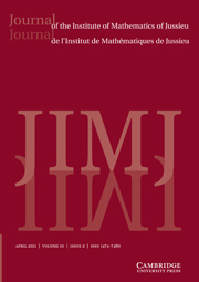 Journal of the Institute of Mathematics of Jussieu Volume 10 - Issue 2 -