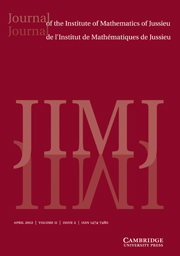 Journal of the Institute of Mathematics of Jussieu Volume 11 - Issue 2 -