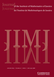 Journal of the Institute of Mathematics of Jussieu Volume 12 - Issue 1 -