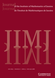 Journal of the Institute of Mathematics of Jussieu Volume 12 - Issue 3 -