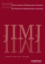 Journal of the Institute of Mathematics of Jussieu Volume 13 - Issue 1 -