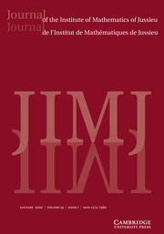 Journal of the Institute of Mathematics of Jussieu Volume 19 - Issue 1 -