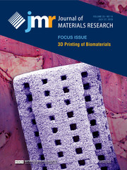 Journal of Materials Research Volume 33 - Issue 14 -  Focus Issue: 3D Printing of Biomaterials