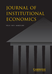 Journal of Institutional Economics Volume 11 - Issue 1 -