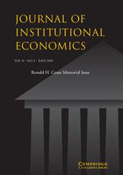 Journal of Institutional Economics Volume 11 - Issue 2 -  Ronald H. Coase Memorial Issue