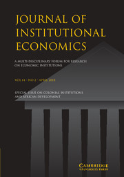 Journal of Institutional Economics Volume 14 - Special Issue2 -  Colonial Institutions and African Development