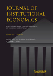 Journal of Institutional Economics Volume 14 - Special Issue3 -  Special Issue on Adapting Institutions to Climate Change