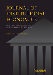 Journal of Institutional Economics Volume 14 - Special Issue6 -  Special Issue on Innovation and Institutions From The Bottom Up