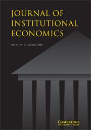 Journal of Institutional Economics Volume 4 - Issue 2 -
