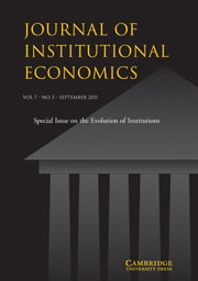 Journal of Institutional Economics Volume 7 - Issue 3 -  Evolution of Institutions