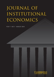 Journal of Institutional Economics Volume 9 - Issue 1 -