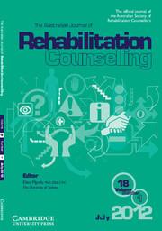 The Australian Journal of Rehabilitation Counselling Volume 18 - Issue 1 -