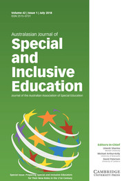 Australasian Journal of Special and Inclusive Education Volume 42 - Special Issue1 -  Preparing Special and Inclusive Educators for Their New Roles in the 21st Century