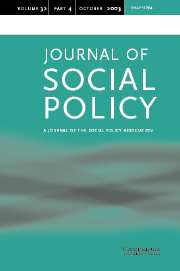 Journal of Social Policy Volume 32 - Issue 4 -