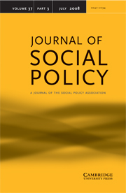 Journal of Social Policy Volume 37 - Issue 3 -