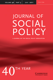 Journal of Social Policy Volume 40 - Issue 3 -