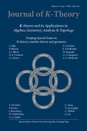 Journal of K-Theory Volume 12 - Issue 1 -  Nanjing Special Issue on K-theory, number theory and geometry