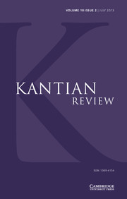 Kantian Review Volume 18 - Issue 2 -