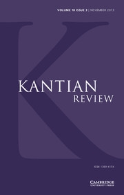 Kantian Review Volume 18 - Issue 3 -