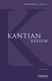 Kantian Review Volume 19 - Issue 3 -